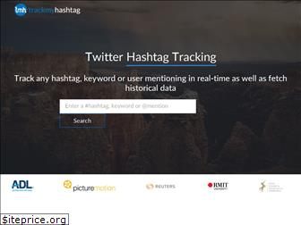 A screenshot of the first screen from TrackMyHashtag tool, a hashtag tracking tool